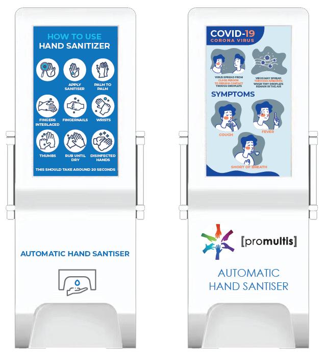 bespoke graphics for hand sanitiser kiosk