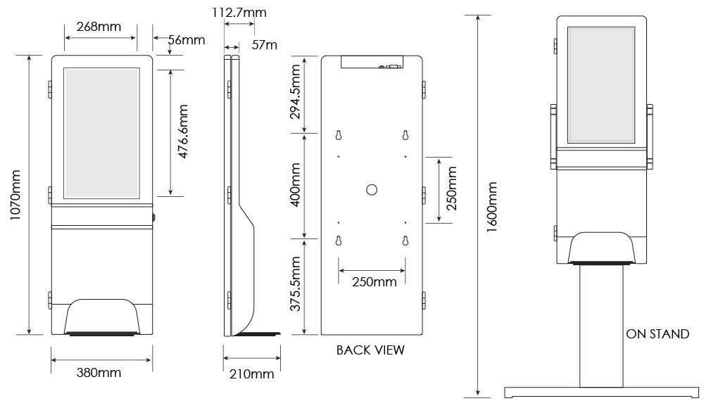 Dimensions for hand sanitiser kiosk