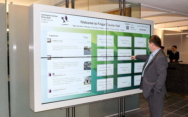 2x2 Floating Interactive Video Wall for Fingal County Council